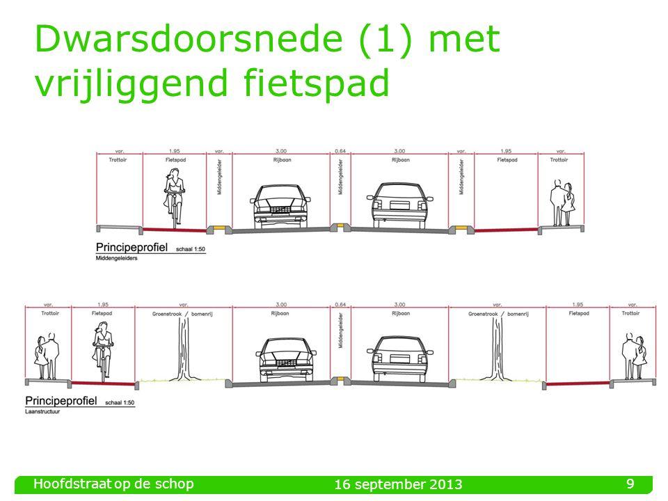 Dwarsdoorsnede (1) met vrijliggend fietspad 16 september 2013 Hoofdstraat op de schop 9