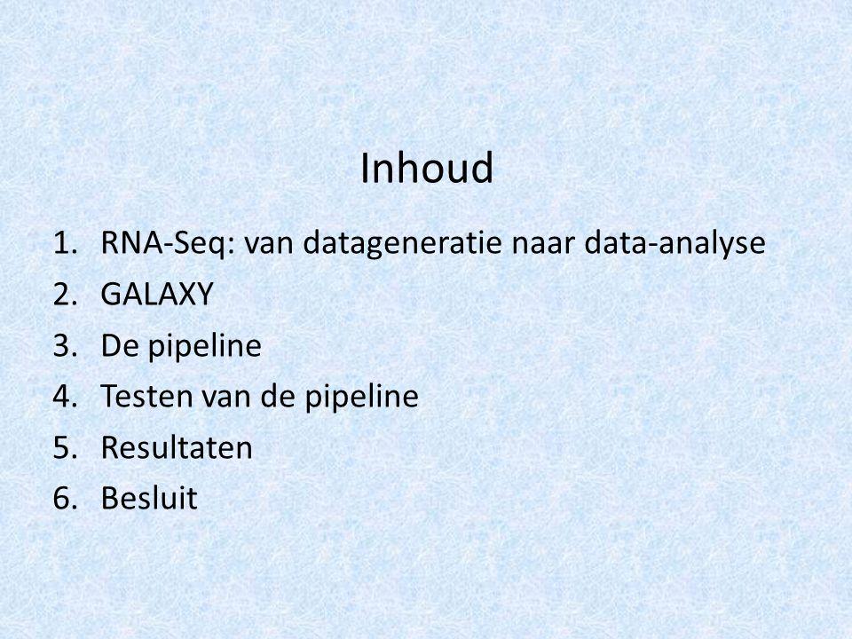 Inhoud 1.RNA-Seq: van datageneratie naar data-analyse 2.GALAXY 3.De pipeline 4.Testen van de pipeline 5.Resultaten 6.Besluit