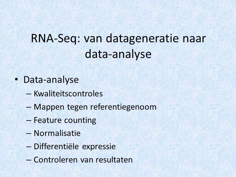RNA-Seq: van datageneratie naar data-analyse Data-analyse – Kwaliteitscontroles – Mappen tegen referentiegenoom – Feature counting – Normalisatie – Differentiële expressie – Controleren van resultaten