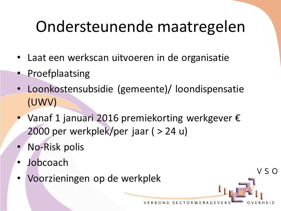 Ondersteunende maatregelen Laat een werkscan uitvoeren in de organisatie Proefplaatsing Loonkostensubsidie (gemeente)/ loondispensatie (UWV) Vanaf 1 januari 2016 premiekorting werkgever € 2000 per werkplek/per jaar ( > 24 u) No-Risk polis Jobcoach Voorzieningen op de werkplek