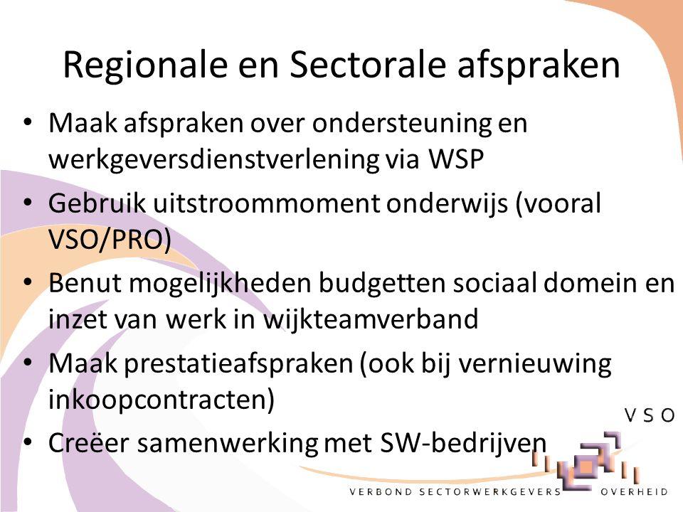 Regionale en Sectorale afspraken Maak afspraken over ondersteuning en werkgeversdienstverlening via WSP Gebruik uitstroommoment onderwijs (vooral VSO/