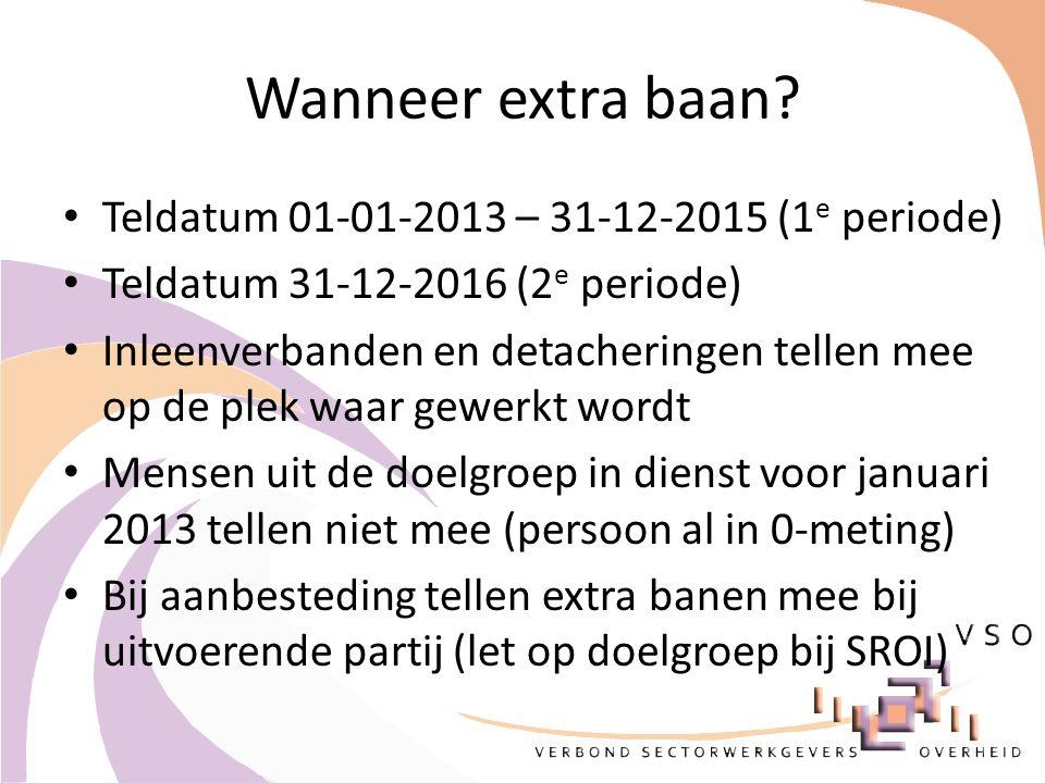 Wanneer extra baan? Teldatum 01-01-2013 – 31-12-2015 (1 e periode) Teldatum 31-12-2016 (2 e periode) Inleenverbanden en detacheringen tellen mee op de