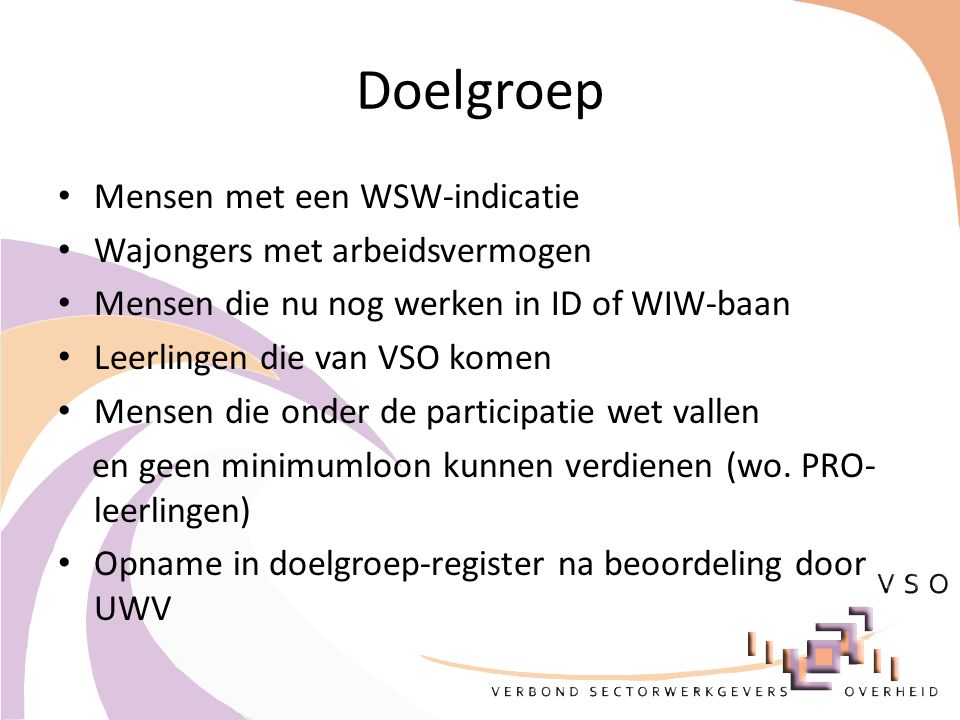 Doelgroep Mensen met een WSW-indicatie Wajongers met arbeidsvermogen Mensen die nu nog werken in ID of WIW-baan Leerlingen die van VSO komen Mensen di