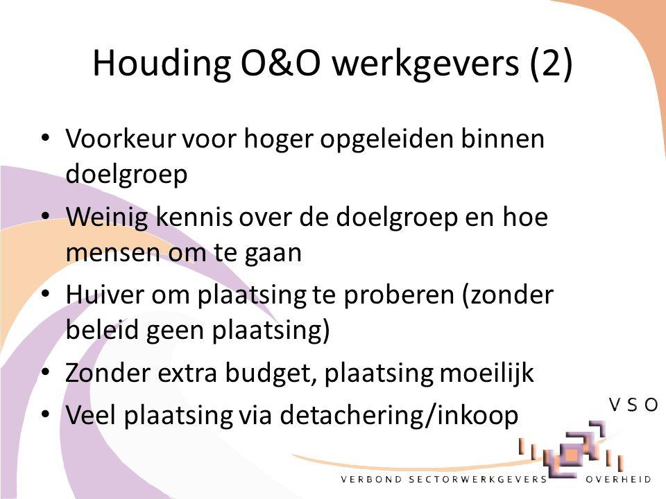 Houding O&O werkgevers (2) Voorkeur voor hoger opgeleiden binnen doelgroep Weinig kennis over de doelgroep en hoe mensen om te gaan Huiver om plaatsing te proberen (zonder beleid geen plaatsing) Zonder extra budget, plaatsing moeilijk Veel plaatsing via detachering/inkoop