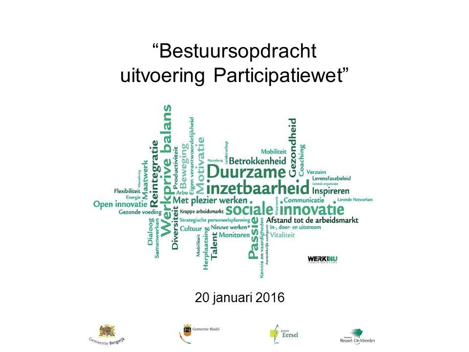 Bestuursopdracht uitvoering Participatiewet 20 januari 2016