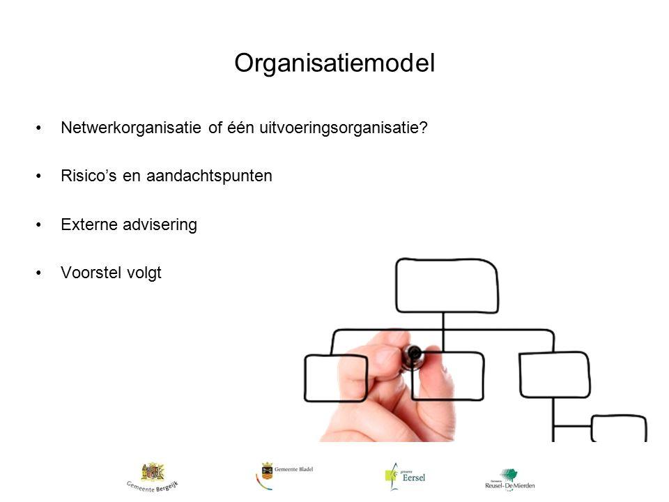 Organisatiemodel Netwerkorganisatie of één uitvoeringsorganisatie.