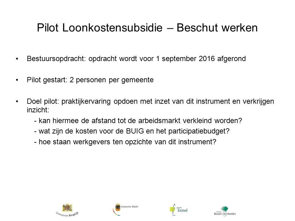 Pilot Loonkostensubsidie – Beschut werken Bestuursopdracht: opdracht wordt voor 1 september 2016 afgerond Pilot gestart: 2 personen per gemeente Doel pilot: praktijkervaring opdoen met inzet van dit instrument en verkrijgen inzicht: - kan hiermee de afstand tot de arbeidsmarkt verkleind worden.