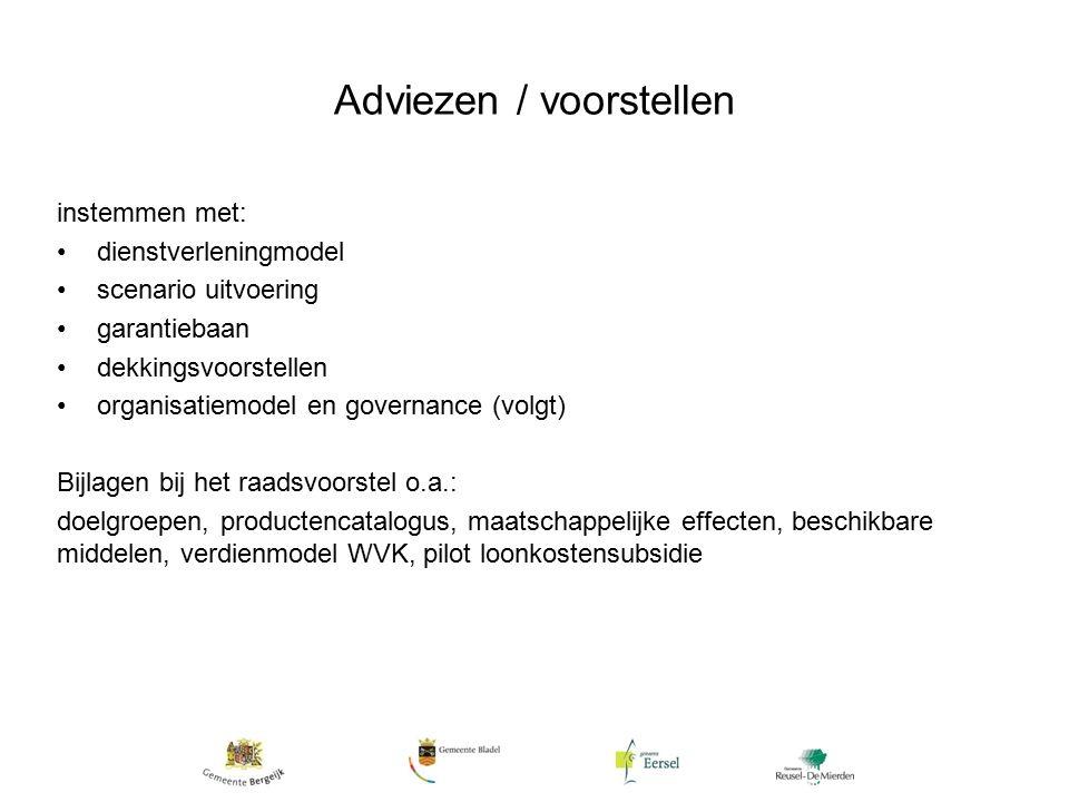 Adviezen / voorstellen instemmen met: dienstverleningmodel scenario uitvoering garantiebaan dekkingsvoorstellen organisatiemodel en governance (volgt) Bijlagen bij het raadsvoorstel o.a.: doelgroepen, productencatalogus, maatschappelijke effecten, beschikbare middelen, verdienmodel WVK, pilot loonkostensubsidie
