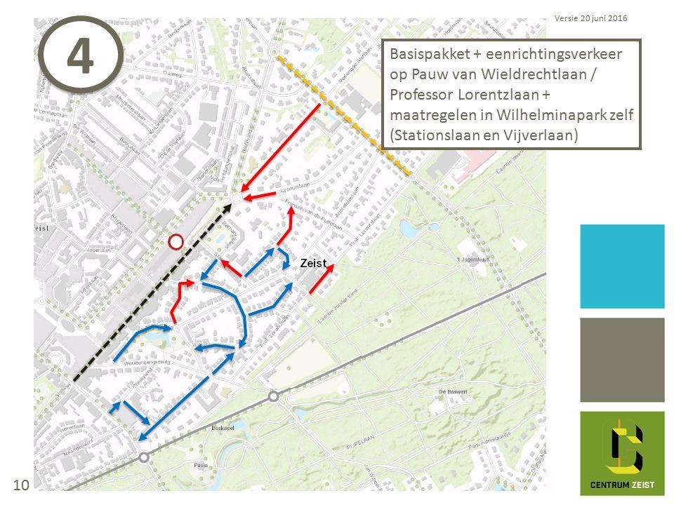 Basispakket + eenrichtingsverkeer op Pauw van Wieldrechtlaan / Professor Lorentzlaan + maatregelen in Wilhelminapark zelf (Stationslaan en Vijverlaan) Versie 20 juni 2016 4 4 10