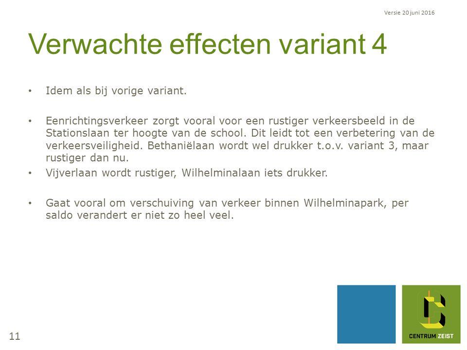 Verwachte effecten variant 4 Idem als bij vorige variant.