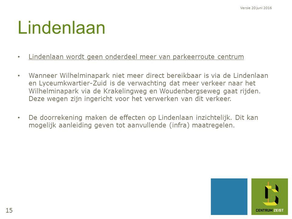 Lindenlaan Lindenlaan wordt geen onderdeel meer van parkeerroute centrum Wanneer Wilhelminapark niet meer direct bereikbaar is via de Lindenlaan en Lyceumkwartier-Zuid is de verwachting dat meer verkeer naar het Wilhelminapark via de Krakelingweg en Woudenbergseweg gaat rijden.