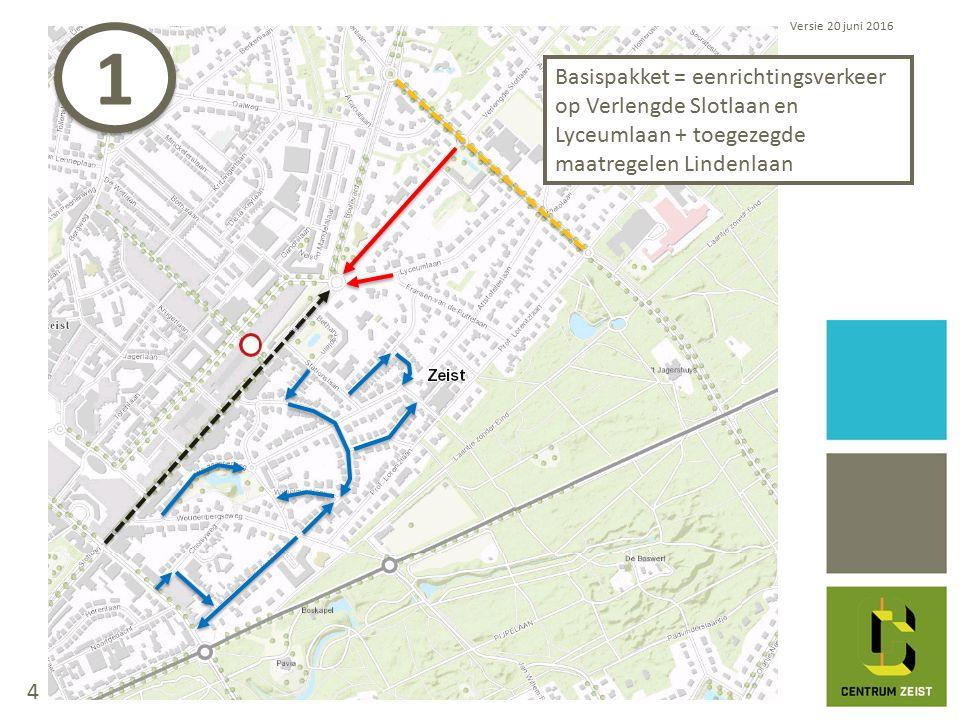 Basispakket = eenrichtingsverkeer op Verlengde Slotlaan en Lyceumlaan + toegezegde maatregelen Lindenlaan Versie 20 juni 2016 1 1 4