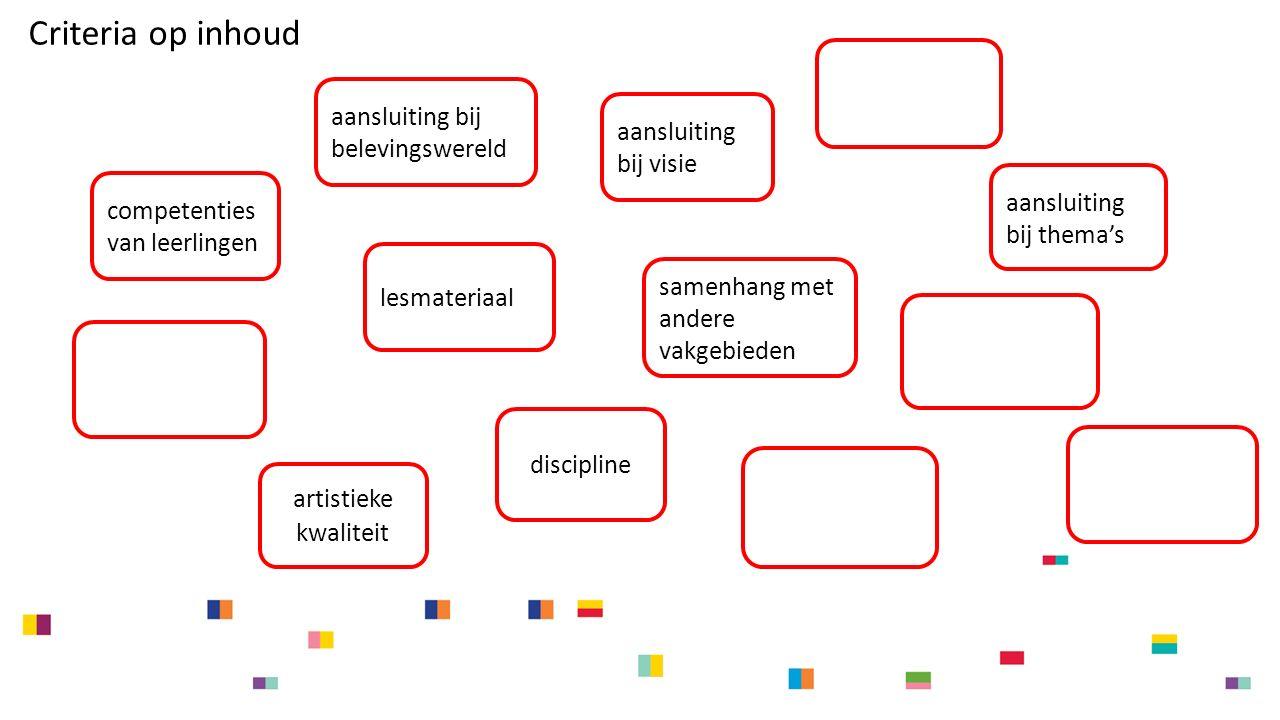 aansluiting bij visie aansluiting bij thema's samenhang met andere vakgebieden discipline lesmateriaal competenties van leerlingen artistieke kwaliteit Criteria op inhoud aansluiting bij belevingswereld