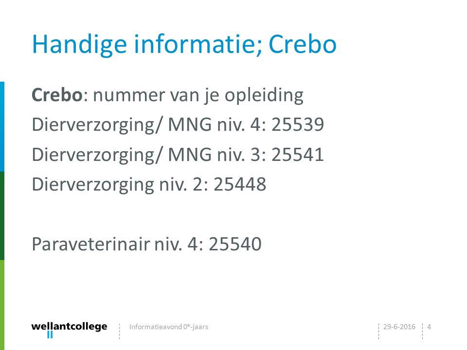Handige informatie; Crebo Crebo: nummer van je opleiding Dierverzorging/ MNG niv. 4: 25539 Dierverzorging/ MNG niv. 3: 25541 Dierverzorging niv. 2: 25