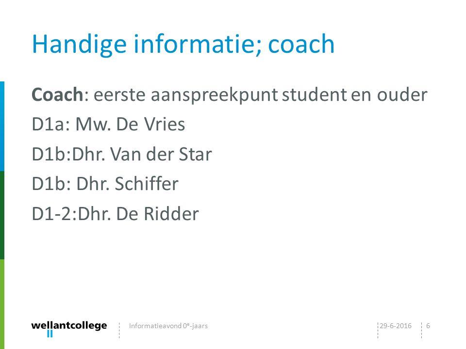 Handige informatie; coach Coach: eerste aanspreekpunt student en ouder D1a: Mw. De Vries D1b:Dhr. Van der Star D1b: Dhr. Schiffer D1-2:Dhr. De Ridder