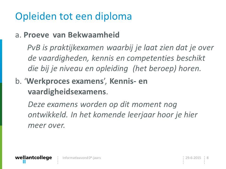 Opleiden tot een diploma a. Proeve van Bekwaamheid PvB is praktijkexamen waarbij je laat zien dat je over de vaardigheden, kennis en competenties besc