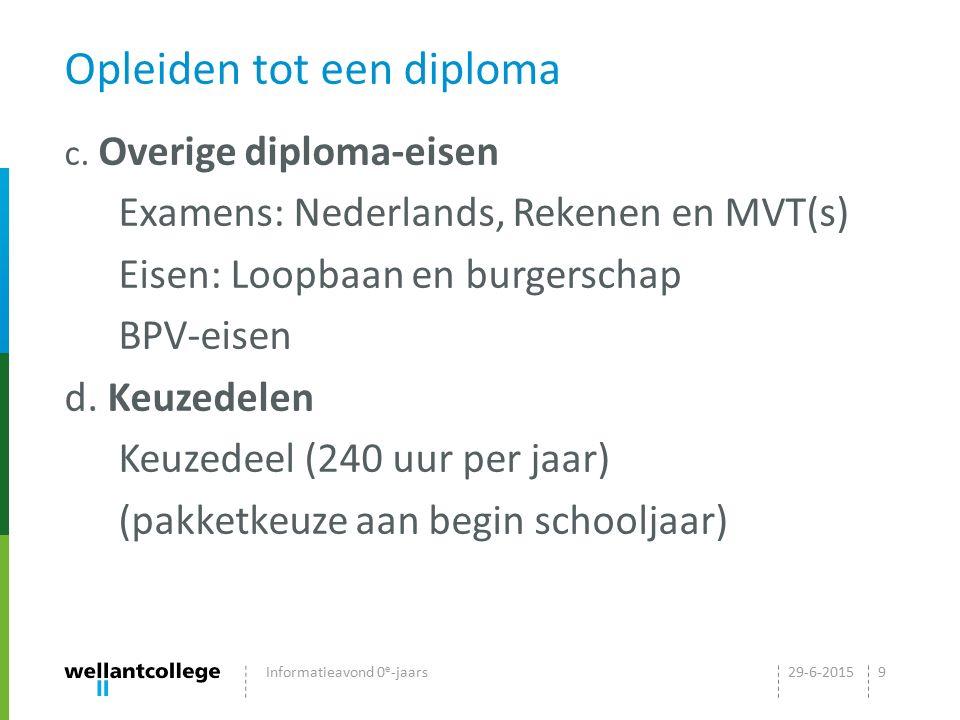 Opleiden tot een diploma c. Overige diploma-eisen Examens: Nederlands, Rekenen en MVT(s) Eisen: Loopbaan en burgerschap BPV-eisen d. Keuzedelen Keuzed