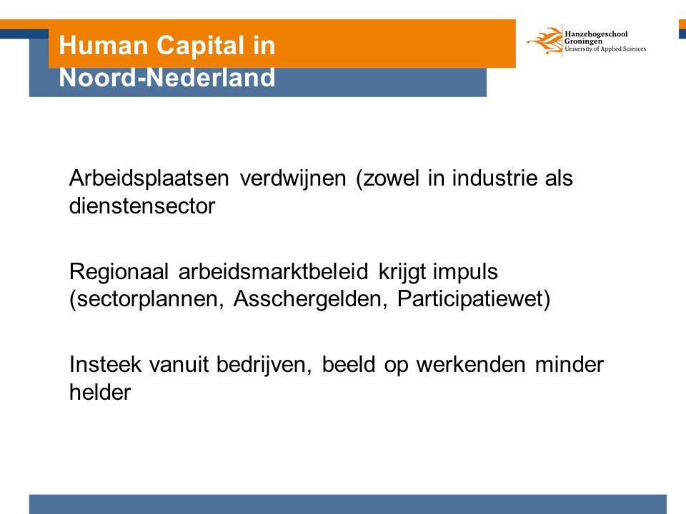 Human Capital in Noord-Nederland Arbeidsplaatsen verdwijnen (zowel in industrie als dienstensector Regionaal arbeidsmarktbeleid krijgt impuls (sectorplannen, Asschergelden, Participatiewet) Insteek vanuit bedrijven, beeld op werkenden minder helder