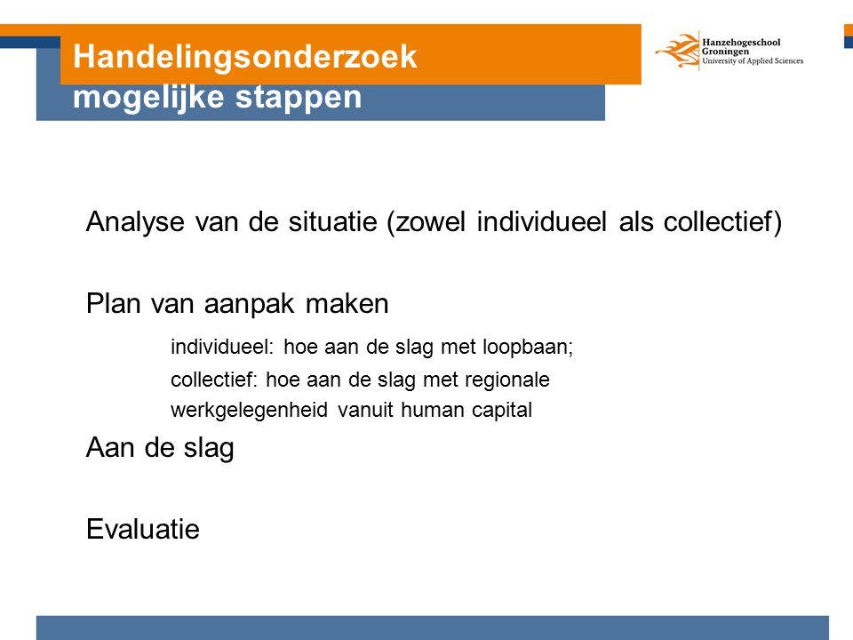 Handelingsonderzoek mogelijke stappen Analyse van de situatie (zowel individueel als collectief) Plan van aanpak maken individueel: hoe aan de slag met loopbaan; collectief: hoe aan de slag met regionale werkgelegenheid vanuit human capital Aan de slag Evaluatie
