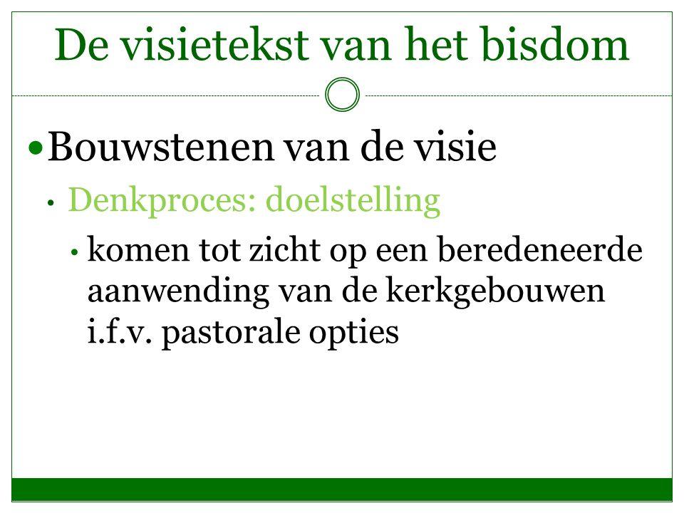 De visietekst van het bisdom Bouwstenen van de visie Denkproces: doelstelling komen tot zicht op een beredeneerde aanwending van de kerkgebouwen i.f.v
