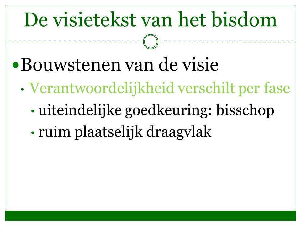 De visietekst van het bisdom Bouwstenen van de visie Verantwoordelijkheid verschilt per fase uiteindelijke goedkeuring: bisschop ruim plaatselijk draagvlak