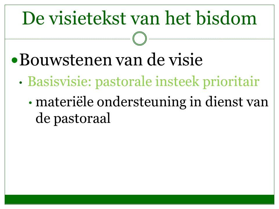 De visietekst van het bisdom Bouwstenen van de visie Basisvisie: pastorale insteek prioritair materiële ondersteuning in dienst van de pastoraal