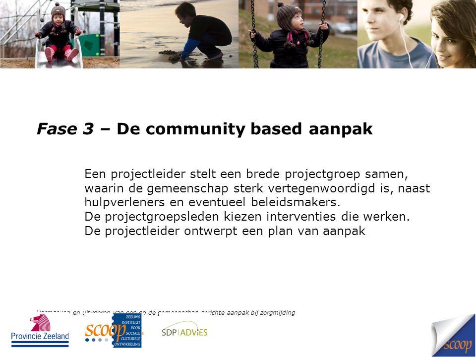 Fase 3 – De community based aanpak Een projectleider stelt een brede projectgroep samen, waarin de gemeenschap sterk vertegenwoordigd is, naast hulpve