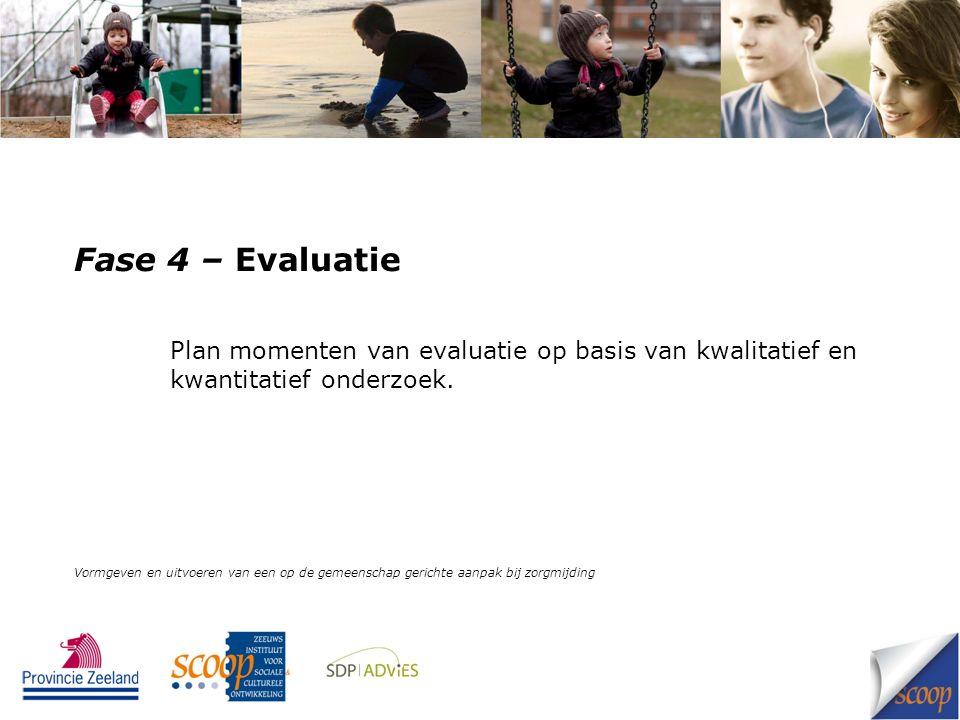 Fase 4 – Evaluatie Plan momenten van evaluatie op basis van kwalitatief en kwantitatief onderzoek. Vormgeven en uitvoeren van een op de gemeenschap ge