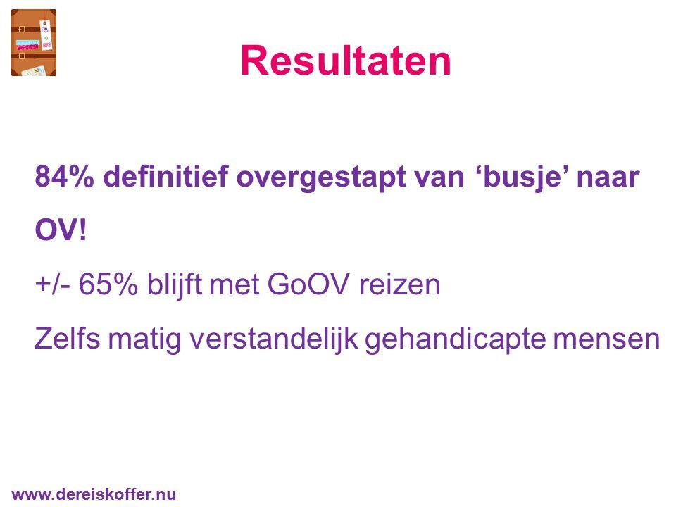 84% definitief overgestapt van 'busje' naar OV! +/- 65% blijft met GoOV reizen Zelfs matig verstandelijk gehandicapte mensen Resultaten www.dereiskoff