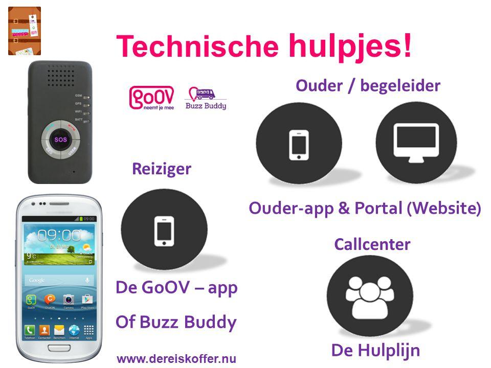 Reiziger Ouder-app & Portal (Website) Callcenter Ouder / begeleider Technische hulpjes! De Hulplijn www.dereiskoffer.nu De GoOV – app Of Buzz Buddy