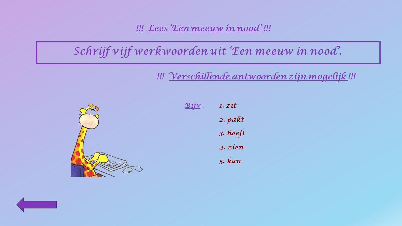 Schrijf vijf naamwoorden uit 'Een meeuw in nood'. !!! Lees 'Een meeuw in nood' !!! !!! Verschillende antwoorden zijn mogelijk !!! Bijv.1. meeuw 2. die