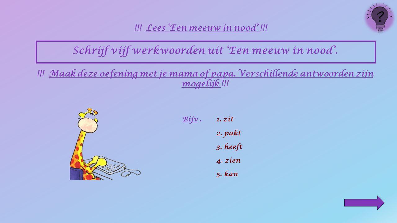 Schrijf vijf naamwoorden uit 'Een meeuw in nood'. !!! Lees 'Een meeuw in nood' !!! !!! Maak deze oefening met je mama of papa. Verschillende antwoorde