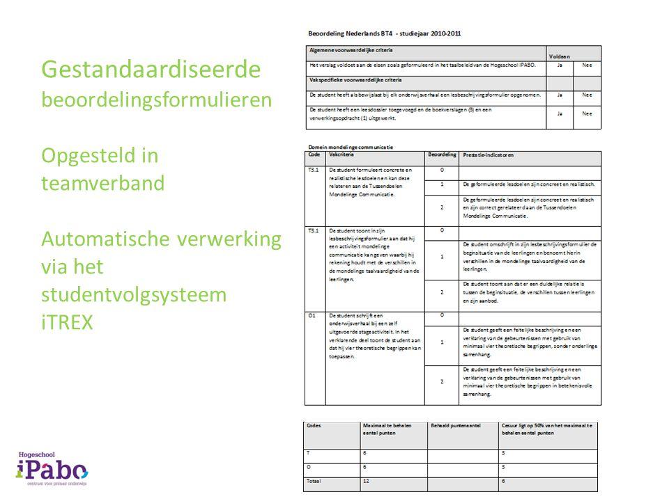Gestandaardiseerde beoordelingsformulieren Opgesteld in teamverband Automatische verwerking via het studentvolgsysteem iTREX