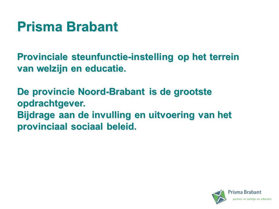 Prisma Brabant Provinciale steunfunctie-instelling op het terrein van welzijn en educatie. De provincie Noord-Brabant is de grootste opdrachtgever. Bi