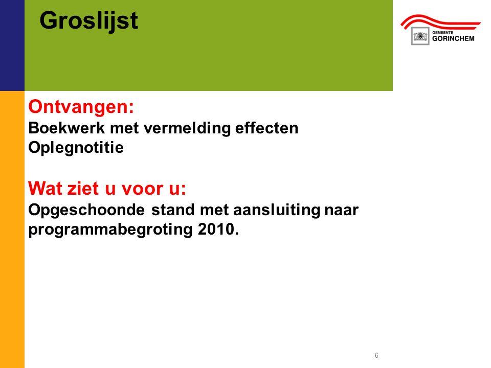 Groslijst 6 Ontvangen: Boekwerk met vermelding effecten Oplegnotitie Wat ziet u voor u: Opgeschoonde stand met aansluiting naar programmabegroting 2010.