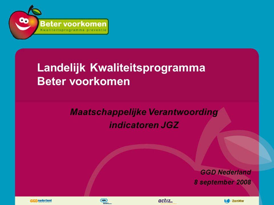 Landelijk Kwaliteitsprogramma Beter voorkomen Maatschappelijke Verantwoording indicatoren JGZ GGD Nederland 8 september 2008