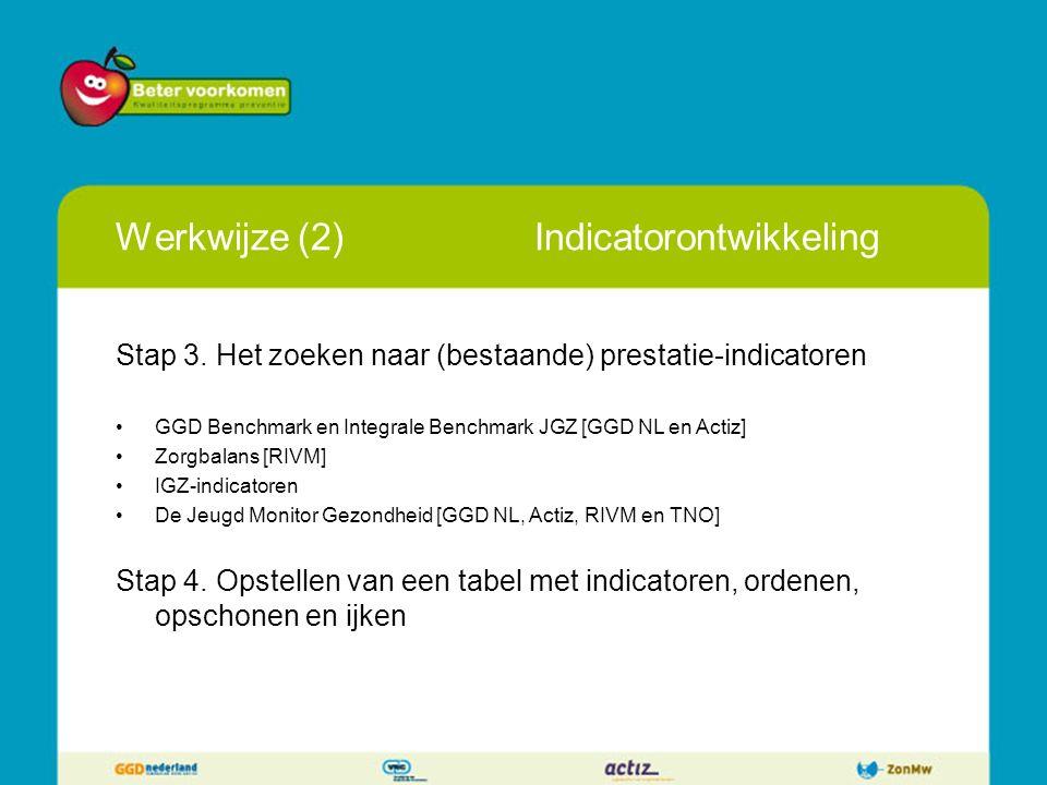 Werkwijze (2)Indicatorontwikkeling Stap 3. Het zoeken naar (bestaande) prestatie-indicatoren GGD Benchmark en Integrale Benchmark JGZ [GGD NL en Actiz