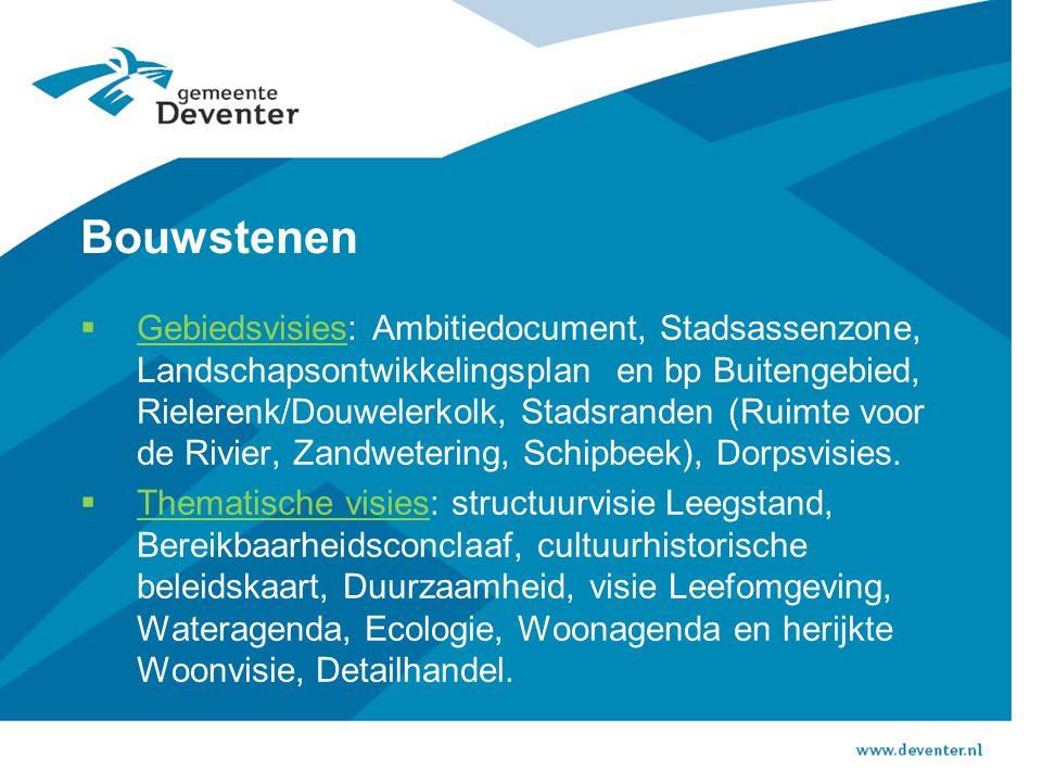 Bouwstenen  Gebiedsvisies: Ambitiedocument, Stadsassenzone, Landschapsontwikkelingsplan en bp Buitengebied, Rielerenk/Douwelerkolk, Stadsranden (Ruimte voor de Rivier, Zandwetering, Schipbeek), Dorpsvisies.