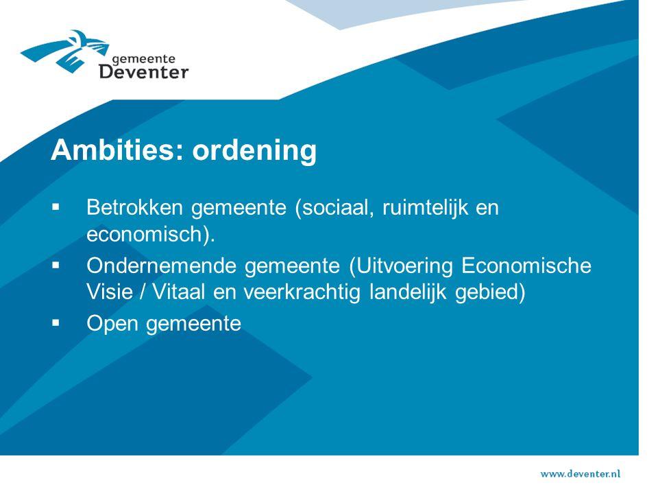 Ambities: ordening  Betrokken gemeente (sociaal, ruimtelijk en economisch).