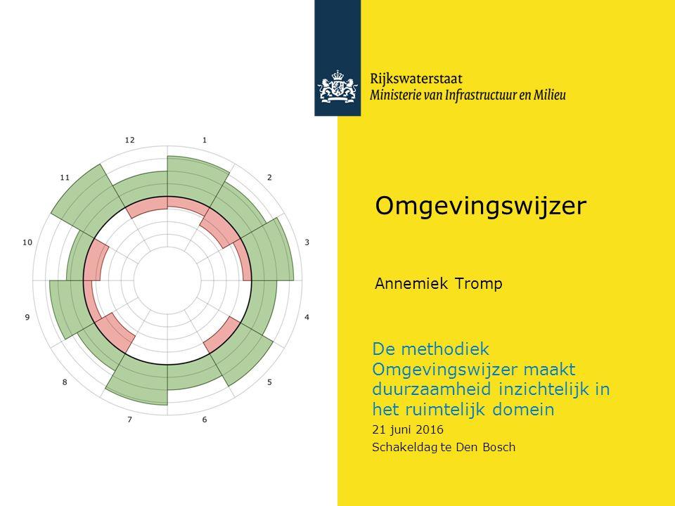 De methodiek Omgevingswijzer maakt duurzaamheid inzichtelijk in het ruimtelijk domein 21 juni 2016 Schakeldag te Den Bosch Omgevingswijzer Annemiek Tr
