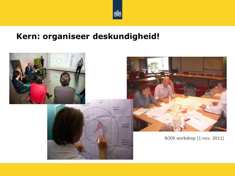 N309 workshop (1 nov. 2011) Kern: organiseer deskundigheid!