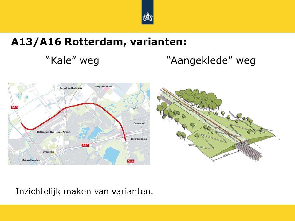 """Kale"" weg""Aangeklede"" weg Inzichtelijk maken van varianten. A13/A16 Rotterdam, varianten:"