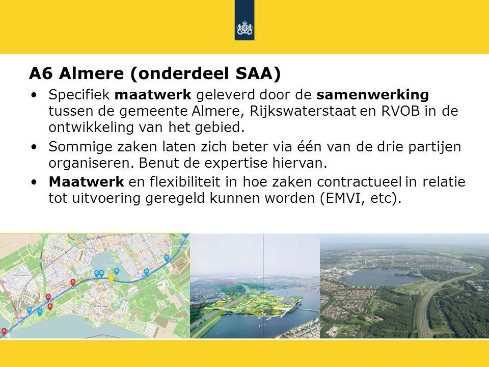 Specifiek maatwerk geleverd door de samenwerking tussen de gemeente Almere, Rijkswaterstaat en RVOB in de ontwikkeling van het gebied. Sommige zaken l