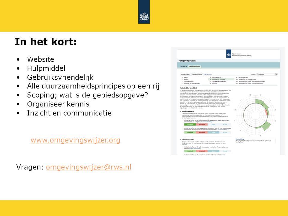 Website Hulpmiddel Gebruiksvriendelijk Alle duurzaamheidsprincipes op een rij Scoping; wat is de gebiedsopgave? Organiseer kennis Inzicht en communica