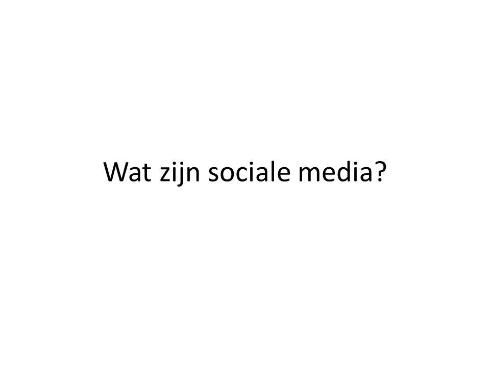Social media is een paraplubegrip voor alle internet-toepassingen waarmee het mogelijk is om informatie met elkaar te delen, te waarderen en creëren op een gebruiksvriendelijke wijze.