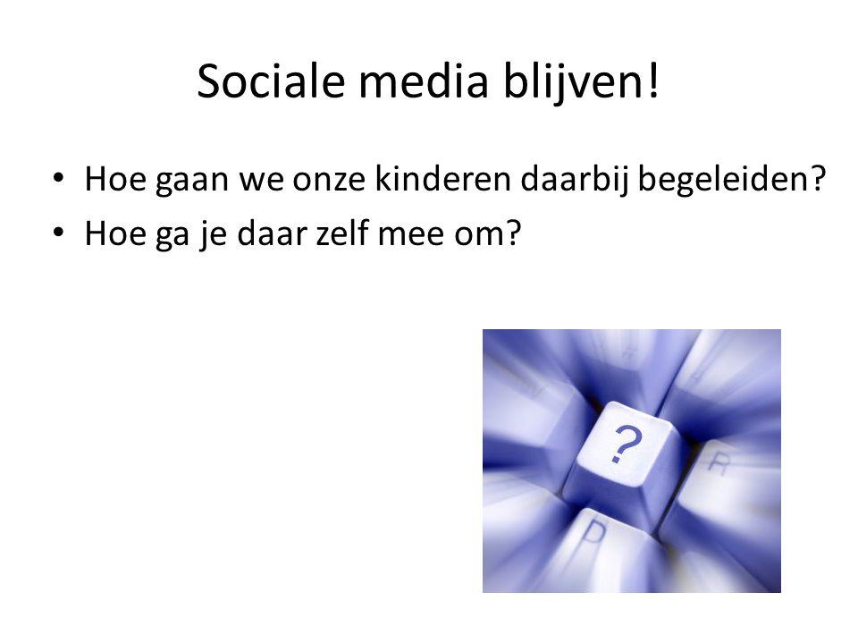 Sociale media blijven! Hoe gaan we onze kinderen daarbij begeleiden? Hoe ga je daar zelf mee om?