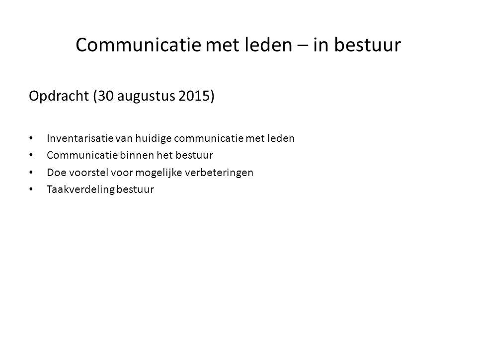 Communicatie met leden – in bestuur Opdracht (30 augustus 2015) Inventarisatie van huidige communicatie met leden Communicatie binnen het bestuur Doe