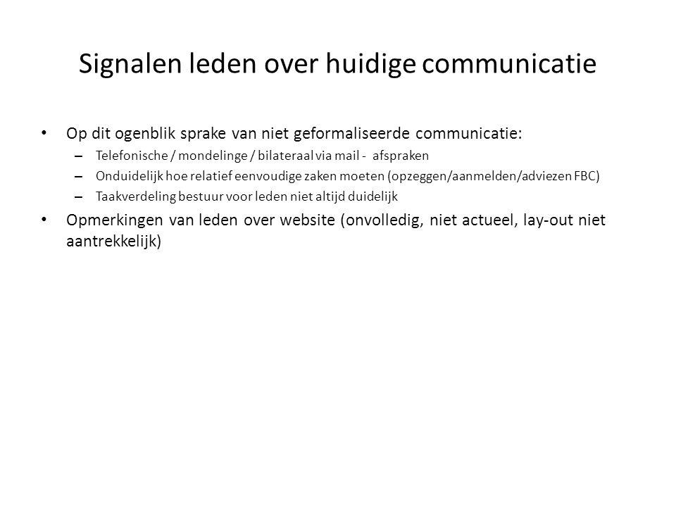 Signalen leden over huidige communicatie Op dit ogenblik sprake van niet geformaliseerde communicatie: – Telefonische / mondelinge / bilateraal via ma
