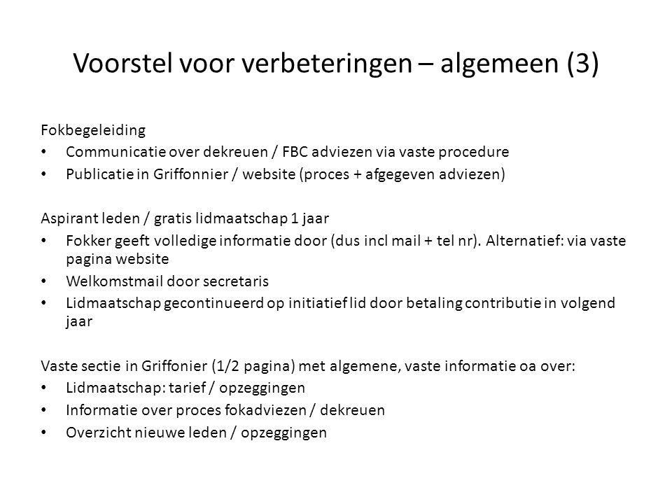 Voorstel voor verbeteringen – algemeen (3) Fokbegeleiding Communicatie over dekreuen / FBC adviezen via vaste procedure Publicatie in Griffonnier / we