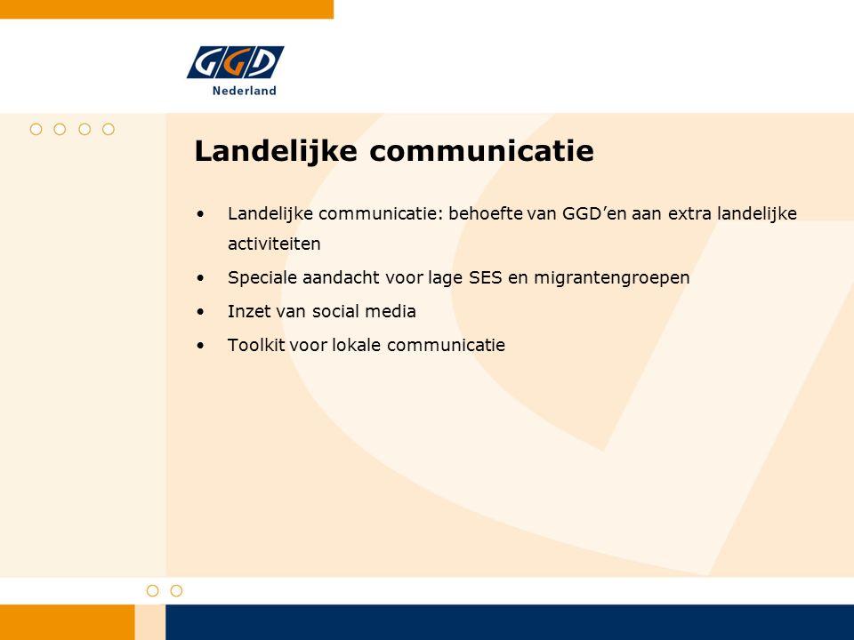 Landelijke communicatie Landelijke communicatie: behoefte van GGD'en aan extra landelijke activiteiten Speciale aandacht voor lage SES en migrantengroepen Inzet van social media Toolkit voor lokale communicatie